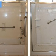 Cultured marble shower wih beige swirls