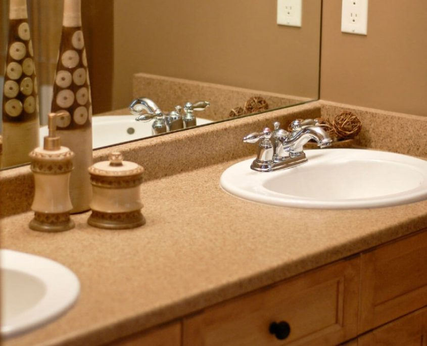 Faux granite vanity refinish with drop in bowls