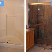 Fiberglass to TruStone shower