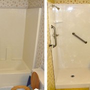 Fiberglass tub to shower conversion