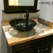 Italian Ice TruStone vanity with vessel sink