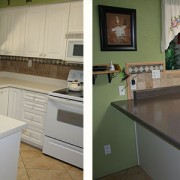 Laminate kitchen counter with faux granite