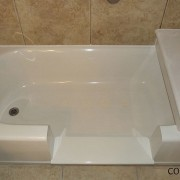 Notch cut tub to shower conversion and bench seat
