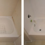 Refinished tub with cultured marble surround