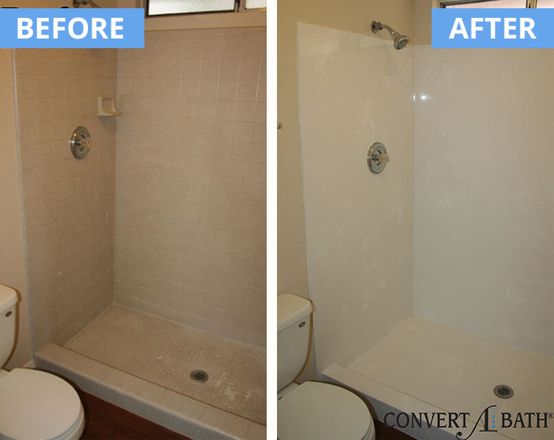 Bathtub And Tile Shower Conversion To Cultured Marble